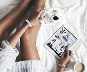 coffee, headphones, and bed image