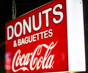 coca cola, baguettes, and donuts image