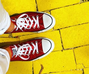 Wizard of oz, yellow brick road, and red converse image