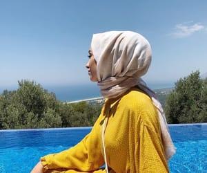 fashion, pool, and hijab image