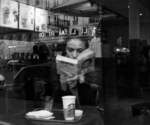 book, black and white, and coffee image