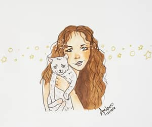 brown hair, cat, and eyes image