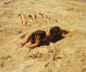 beach, couple, and sand image