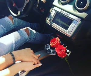 car, rose, and couple image