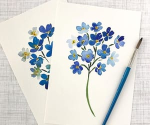 aquarel, blue, and flowers image