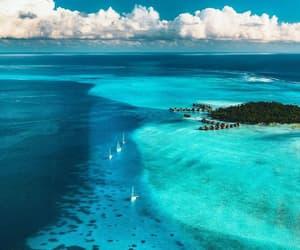 clouds, Island, and sea image