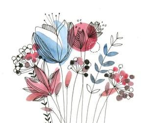 aquarel, blue, and flowers image