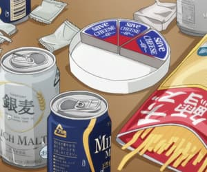 anime, beer, and food image
