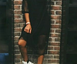 black dress, white boots, and swag girl image