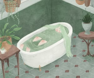 art, green, and bath image