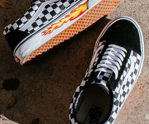 checkered, fashion, and flames image