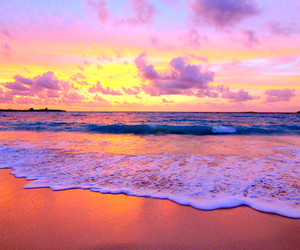 beach, sunset, and sea image