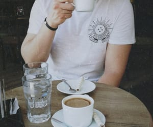 coffee, date, and white t-shirt image