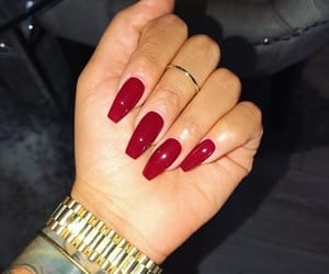 nails, gold, and red image