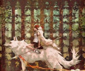 princess mononoke, anime, and wolf image
