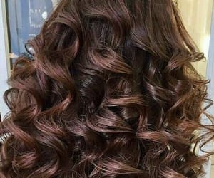 brown hair, curls, and long hair image