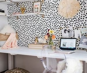 chair, desk, and decor image