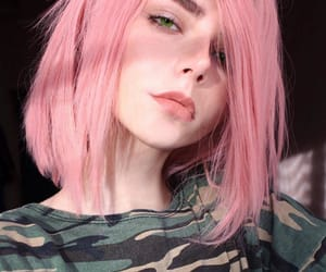 girl, military, and pink image