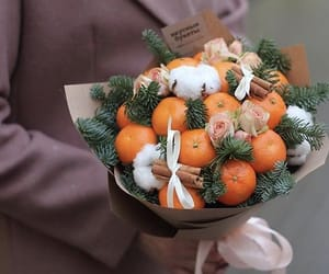 bouquet, flowers, and fruit image
