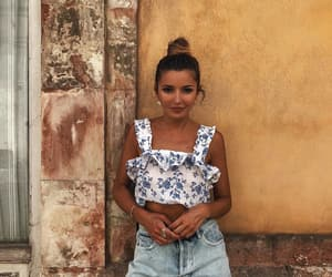 bun, denim shorts, and fashion image