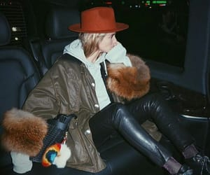 hat, red, and leather image