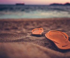 beach, summer, and flip flops image
