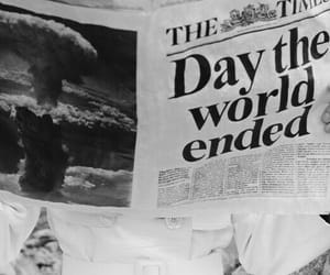 black and white, world, and newspaper image