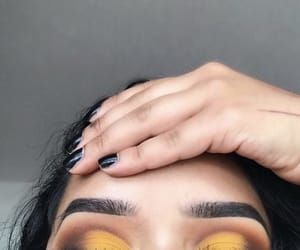 eye shadow, make up, and yellow image