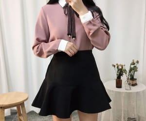 black, blouse, and black skirt image