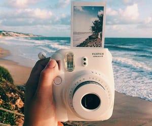 beach, photography, and polaroid image