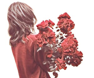 red, girl, and flowers image