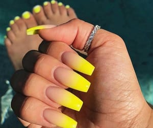 nails, Nude, and yellow image