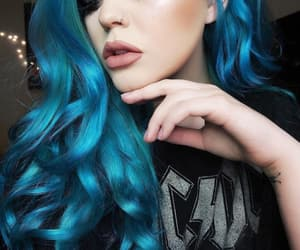beautiful, girl, and blue hair image