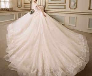 bridal, lace, and ivory wedding dress image