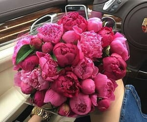 bouquet, car, and flowers image