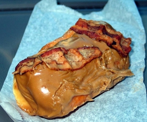 bacon wrapped maple bar and donut image