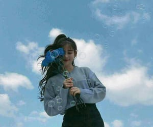 blue, sky, and girl image