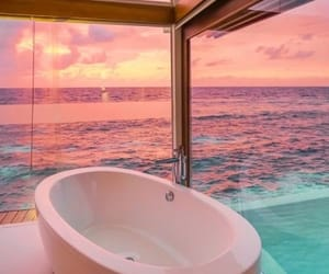 sunset, beautiful, and bathroom image