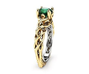 emerald, two tone, and engagement ring image