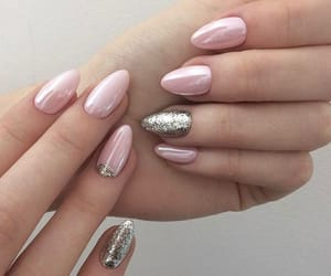 glitter, light pink, and pink nails image