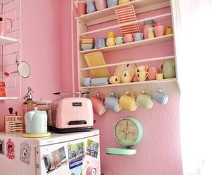 pink, kitchen, and vintage image