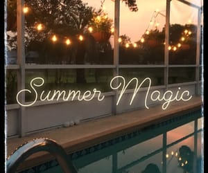 fairy lights, magic, and pool image