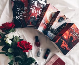 book, red, and rose image