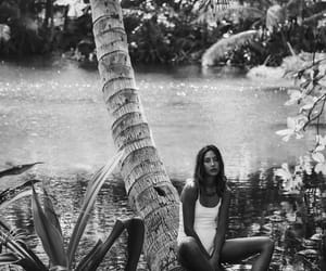 black & white, girl, and palm trees image