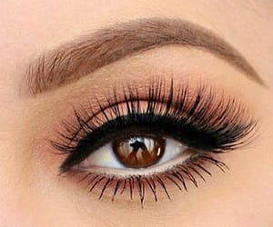 brown eyes, black liner, and lashes image