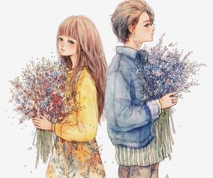 art, couple, and flowers image