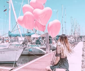 balloons, pink, and girly image