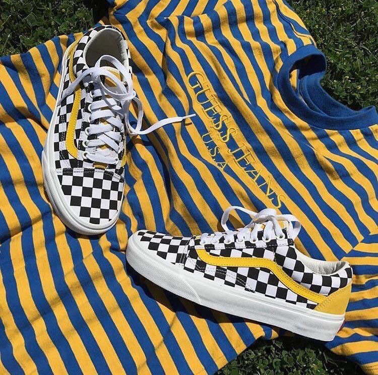 clothes, sneakers, and yellow image