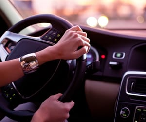 driving, fashion, and sunset image