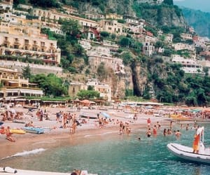 beach, boat, and italy image